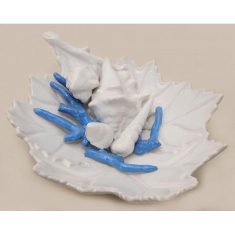 Foglia  ceramica con decoro azzurro