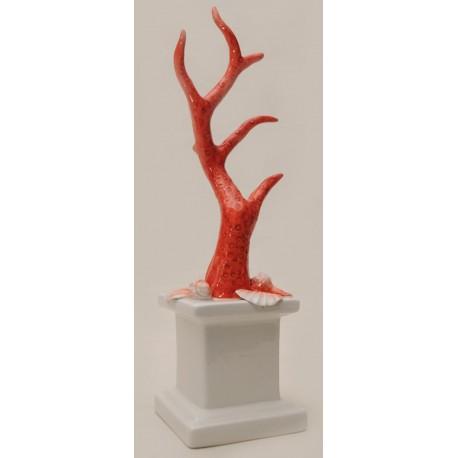 Basetta in ceramica con ramo corallo rosso