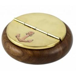 Oggettistica nautica: Vendita posacenere tondo legno e ottone