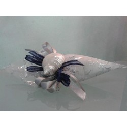 Bomboniere marine: Cornucopia argento linea organza