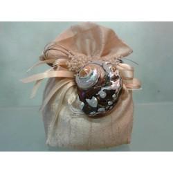 Bomboniere marine: Sacco beige linea seta con turbo Sarmaticus