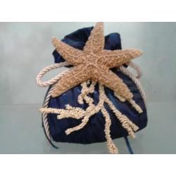 Bomboniere marine: Sacco Blu linea perla con stella sugar e cordone