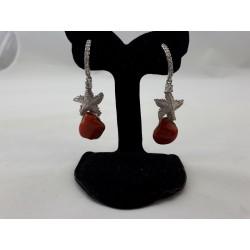 Orecchini  corallo rosso e argento bianco