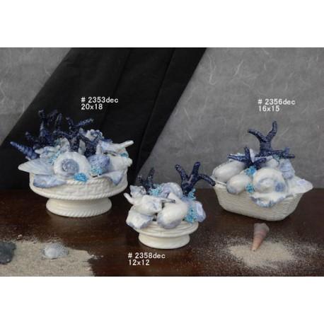 Cestini con conchiglie decor. azzurra