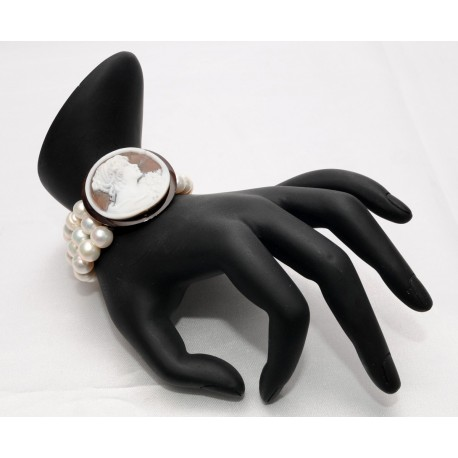 Bracciale elastico perle con cammeo