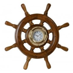 Timone legno con orologio